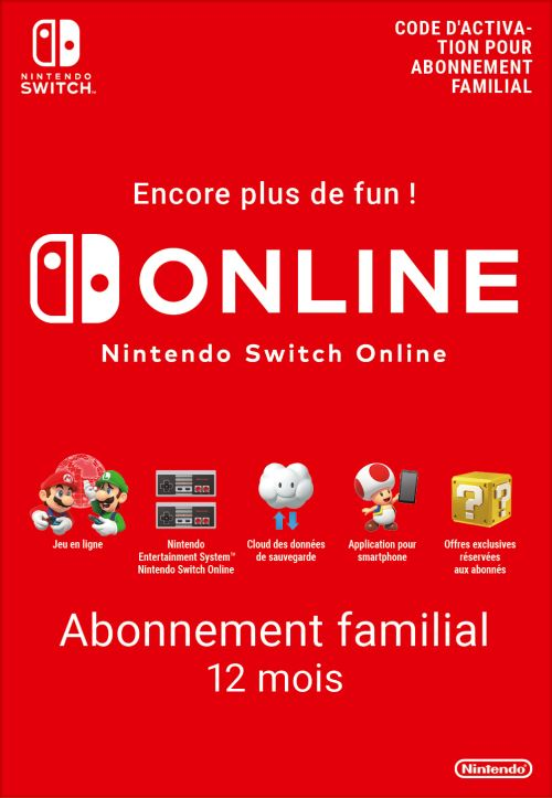 Code de téléchargement Nintendo Switch Online : Abonnement familial 12 mois