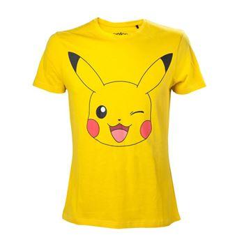 T-Shirt Pokémon Pikachu Clin d'oeil Homme Taille XL Jaune