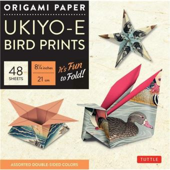 Origami paper ukiyo-e birds print large 8 inches