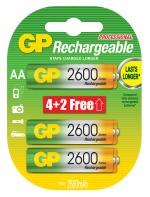 Piles rechargeables GP x6 AA Série 2700