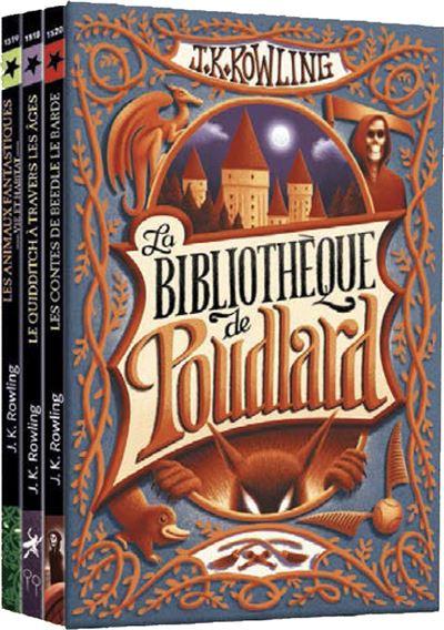 COFFRET LA BIBLIOTHEQUE DE POUDLARD - LE QUIDDITCH A TRAVERS LES AGES - LES ANIMAUX FANTASTIQUES - LES CONTES DE BEEDL