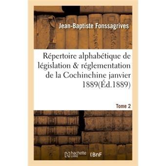 Repertoire alphabetique de legislation et de reglementation