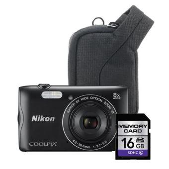 Caméra Compact Nikon Coolpix A300 Noir + 16Go + Case