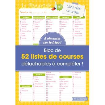 Liste de courses m moniak bloc de 52 listes de courses - Liste de courses indispensable ...
