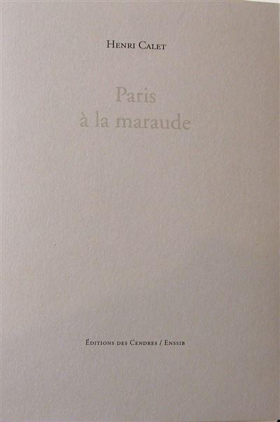 Paris à la maraude