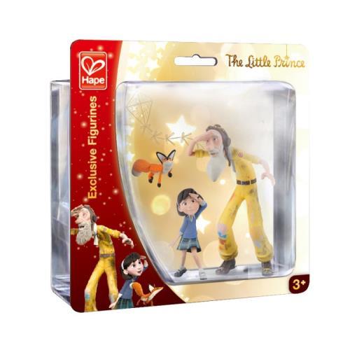 Figurines Le Petit Prince - La petite fille L'aviateur et Le renard Hape