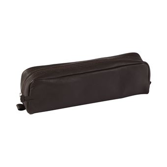 Trousse rectangulaire en cuir Clairefontaine Marron