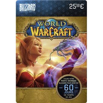 Carte Cadeau Wow.Code De Telechargement Carte Cadeau World Of Warcraft 60 Jours De Temps De Jeu