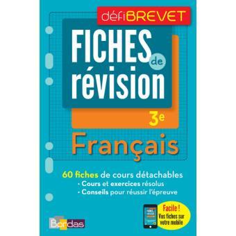 Defibrevet Fiches De Revision Francais 3e