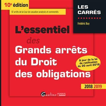 L Essentiel Des Grands Arrets Du Droit Des Obligations 10eme Edition
