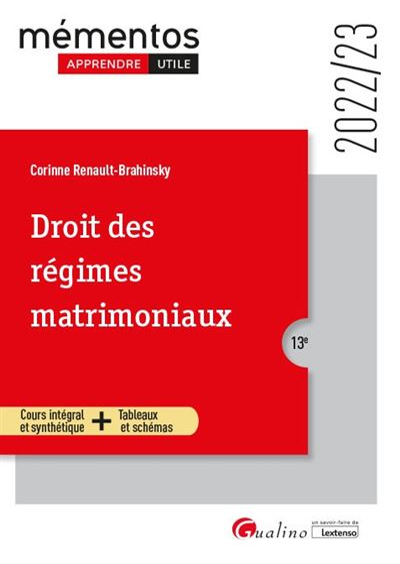 Droit des regimes matrimoniaux - 10eme edition - 2019