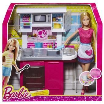 poupe barbie et sa cuisine poupe achat prix fnac - Cuisine Barbie