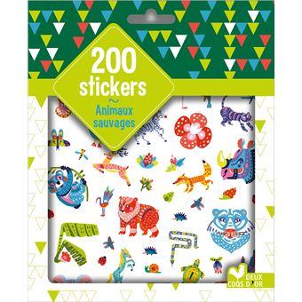 200 stickers animaux sauvages - pochette d'autocollants