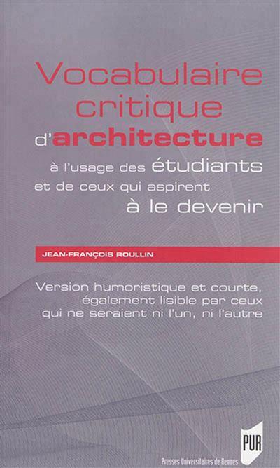 Vocabulaire critique d architecture