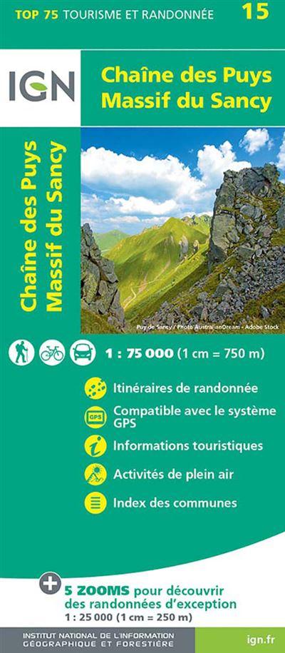 Chaîne des Puys - Massif du Sancy 1/75 000