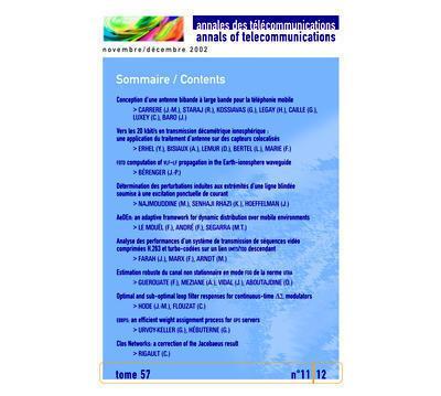 Annales des telecommunications tome 57 n. 11-12/novembre-dec