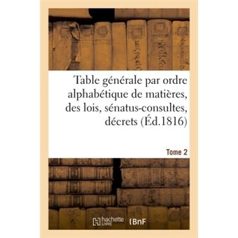 Table generale par ordre alphabetique de matieres, des lois,