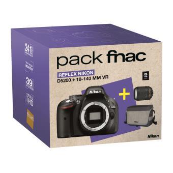Pack Fnac Reflex Nikon D5200 + Objectif AF-S 18-140 mm VR + Fourre-tout + Carte SDHC 8 Go