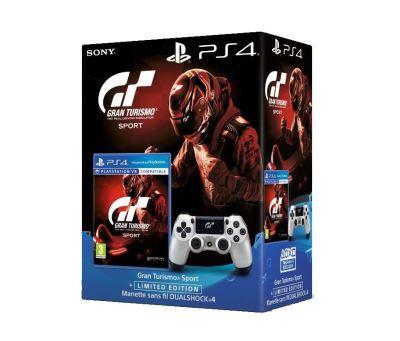 Gran Turismo Sport PS4 + Manette sans fil DualShock 4 Argent + Code de téléchargement Qui es-tu