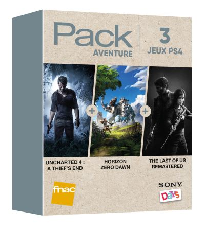 Pack Fnac 3 Jeux Aventure PS4 Uncharted 4 A Thief's End + Horizon Zero Dawn + The Last Of Us Remastered