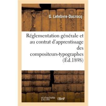 Projet relatif a la reglementation generale & contrat d'appr