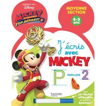 Mickey Top Départ !Ardoise J'écris avec Mickey Top départ MS, Cycle 1