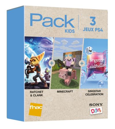 Pack Fnac 3 Jeux Kids PS4 Rachet & Clank + Minecraft + Singstar Celebration