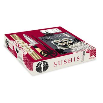 ee0b933fa46c8 Sushis, Coffret 1 livre avec 1 couteau, 1 moule à sushis, 1 natte en  bambou, 2 paires de baguettes