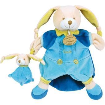 marionnette pinou le lapin bleu et son b b doudou et. Black Bedroom Furniture Sets. Home Design Ideas