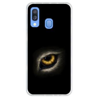 Capa Hapdey Para Samsung Galaxy A40 2019 Design Olho de Lobo Olhando Para Você Capa de Silicone Flexível Em TPU - Transparente