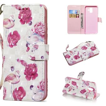 Capa Magunivers PU spot light flor e flamingo para Samsung Galaxy A6 (2018)