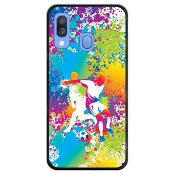 Capa Silicone Hapdey Para Samsung Galaxy A40 2019 Design Jogadores de Futebol Abstratos MultiColoridos Flexível Em TPU - Preto