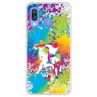 Capa Hapdey Para Samsung Galaxy A40 2019 Design Jogadores de Futebol Abstratos Multicoloridos Capa de Silicone Flexível Em TPU - Transparente