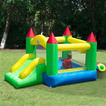 Castelo Insuflável para Crianças HOMCOM - Tecido de Nylon 420D - Verde - 300x180x160cm