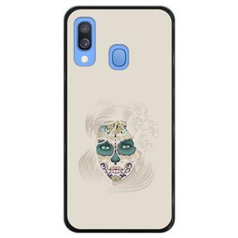 Capa Silicone Hapdey Para Samsung Galaxy A40 2019 Design Dia dos Mortos Senhora Caveira de Açúcar Flexível Em TPU - Preto