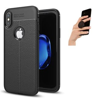 Capa PhoneShield Rugged Leather Anti-Choque + Popsocket Multifunção para iPhone X - Preto