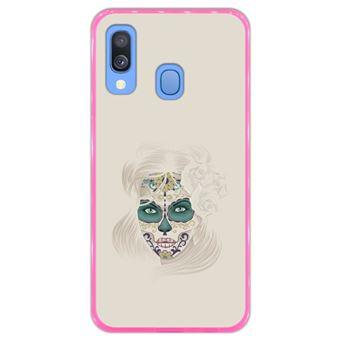 Capa Hapdey Para Samsung Galaxy A40 2019 Design Dia Dos Mortos Senhora Caveira de Açúcar Capa de Silicone Flexível Em TPU - Rosa