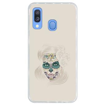 Capa Hapdey Para Samsung Galaxy A40 2019 Design Dia dos Mortos Senhora Caveira de Açúcar Capa de Silicone Flexível Em TPU - Transparente