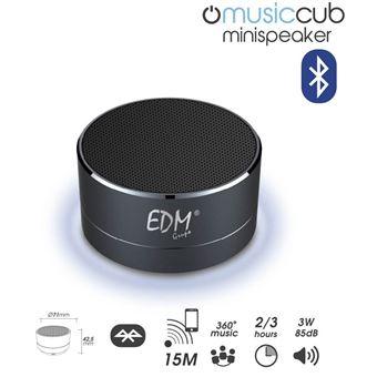 Mini Coluna Bluetooth Portátil 3W 85DB com Iluminação (Preto) - EDM