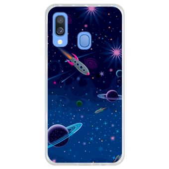 Capa Hapdey Para Samsung Galaxy A40 2019 Design Visão Cósmica Planetas e Naves Espaciais Capa de Silicone Flexível Em TPU - Transparente