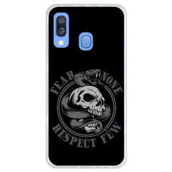 Capa Hapdey para Samsung Galaxy A40 2019 Design Cobra e Caveira Fear None, Respect Few em Silicone Flexível e TPU