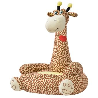 Cadeira em pelúcia vidaXL infantil girafa castanho 52x47x74 cm