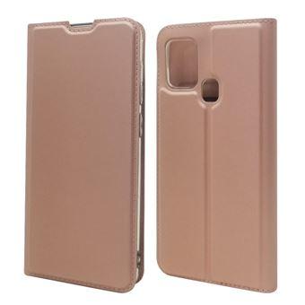 Capa Magunivers Pu Adsorção Magnética com Suporte e Suporte de Cartão Ouro Rosa para Samsung Galaxy A21S