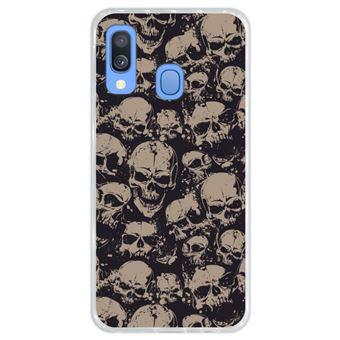 Capa Hapdey Para Samsung Galaxy A40 2019 Design Crânios Padrão Abstrato Capa de Silicone Flexível Em TPU - Transparente