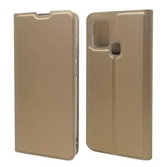 Capa Magunivers Pu Adsorção Magnética com Suporte e Suporte de Cartão Ouro para Samsung Galaxy A21S