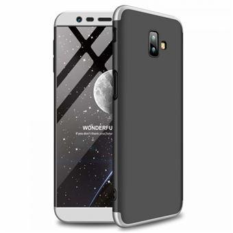 Capa Li-RK Bolsa 360º com Encaixe Superior e Inferior + Película de Vidro Temperado para Samsung Galaxy J6 Plus 2018 - Prata e Preto