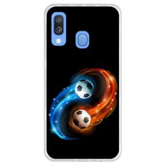Capa Hapdey Para Samsung Galaxy A40 2019 Design Resumo Fogo e Água Bola de Futebol Capa de Silicone Flexível Em TPU - Transparente