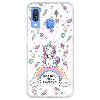 Capa Hapdey para Samsung Galaxy A40 2019 Design Arco-Íris Dream Like a Unicorn em Silicone Flexível e TPU