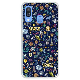 Capa Hapdey Para Samsung Galaxy A40 2019 Design Resumo Objetos e Símbolos Espaciais Capa de Silicone Flexível Em TPU - Transparente