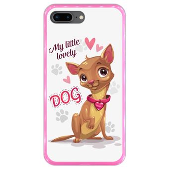 Capa Hapdey para iPhone 7 Plus - 8 Plus Design Cão Bebé Adorável em Silicone Flexível e TPU Cor-de-Rosa